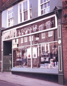 The Chemists' Shop shot by Pharmacist, Helen Walker, in 1965