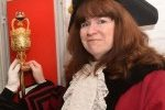 Mayor Ruth Newell in a Gaol Cell with Buckingham Town's Mace